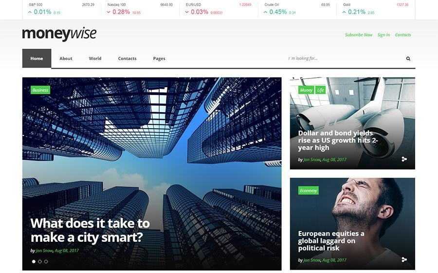 Moneywise - Financial News Magazine Responsive Multipage Website Template