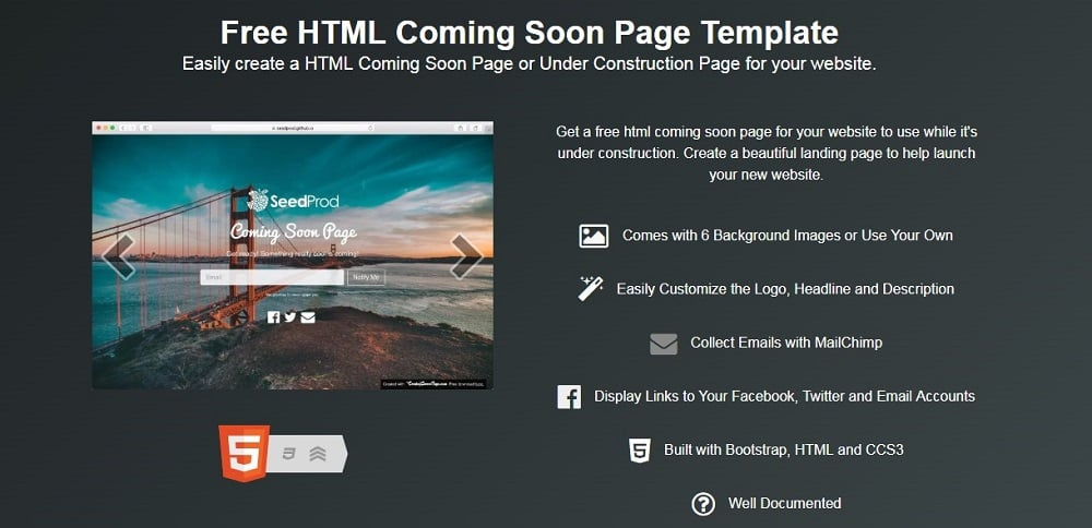 Free HTML Coming Soon Page Template