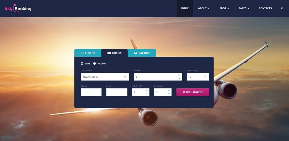 Sky Booking - Travel Online Multipage Website Template