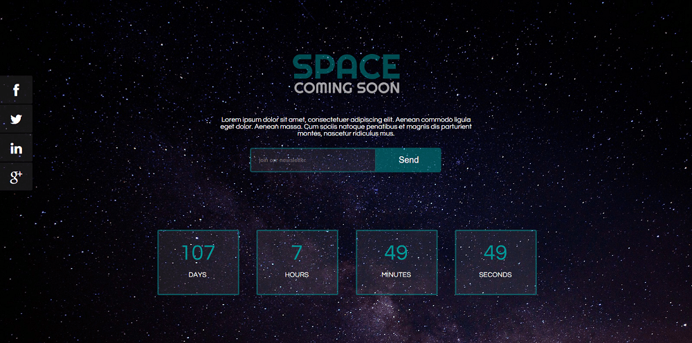 Space Coming Soon Specialty Page