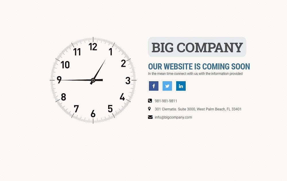 Free Coming Soon Template: Time's a Wastin