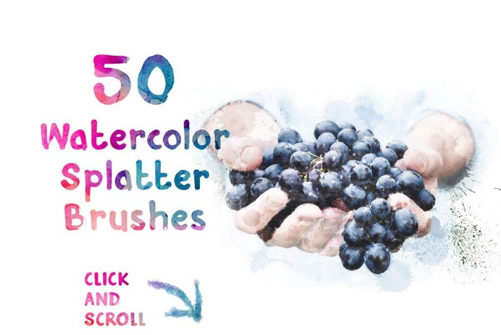 50 FREE Watercolor Splatter Brushes