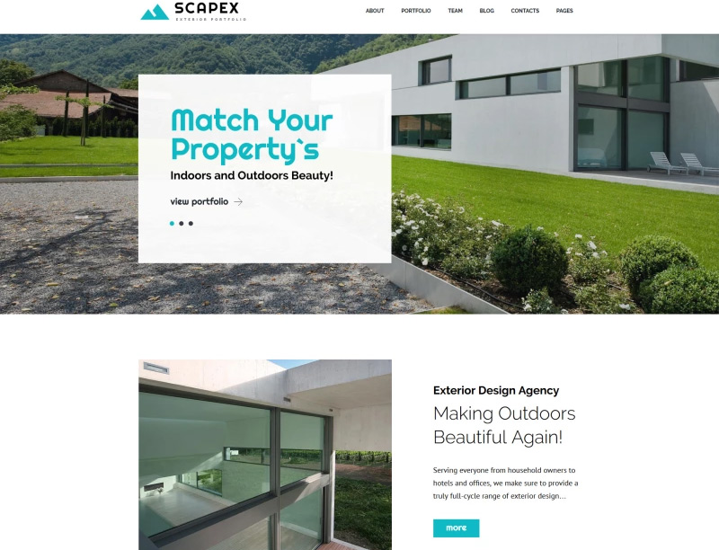 Scapex - Exterior Designer Portfolio WordPress Theme