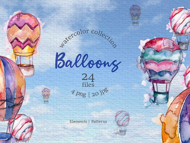 Balloons Watercolor Blue png Illustration
