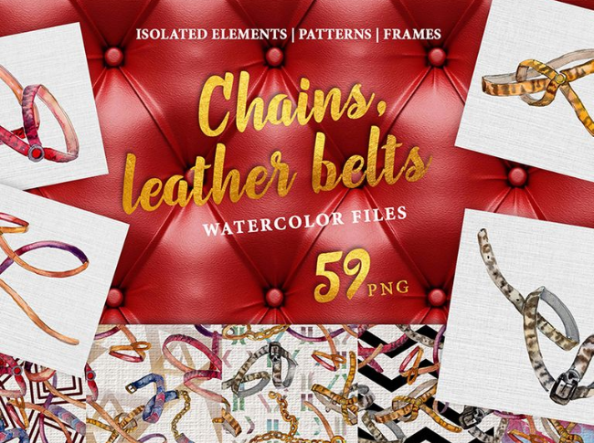 Chains, Leather Belts Watercolor png Illustration