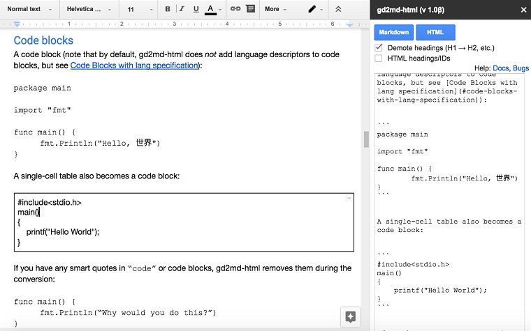 Docs to Markdown.
