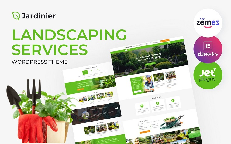 Jardinier - Landscaping Services Green WordPress Theme