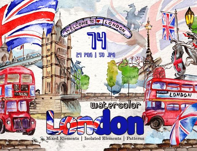 London Watercolor png Illustration