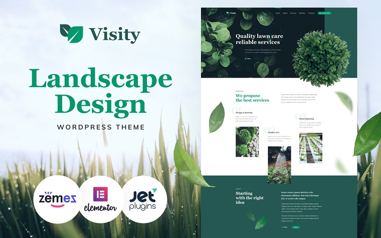 Visity - Landscape Design with Elementor  Green WordPress Theme