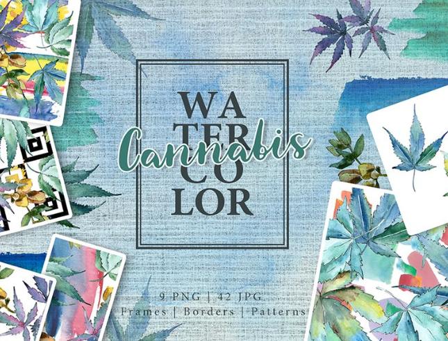 Watercolor Cannabis - Leaves Set Illustration