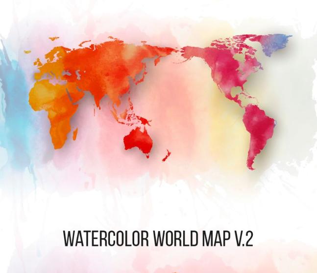 Watercolor World Map v.2 Illustration