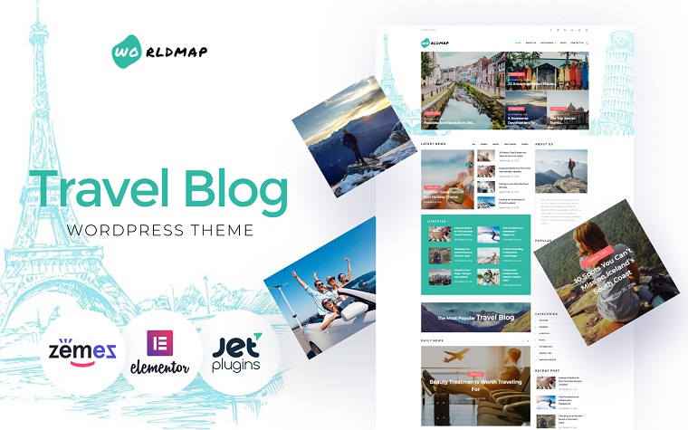 WorldMap - Travel Photo Blog Elementor Green WordPress Theme