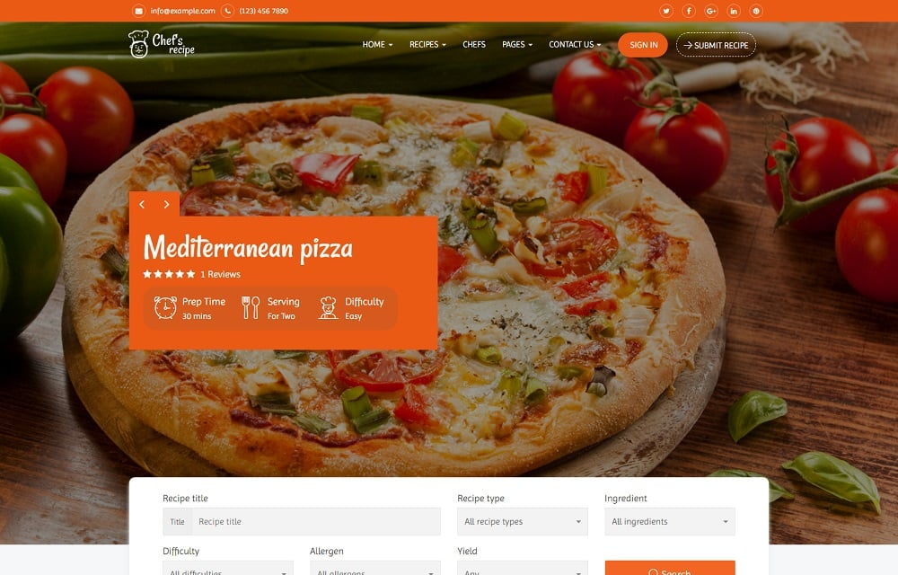 Chef's Recipe - Food & Recipe WordPress Theme