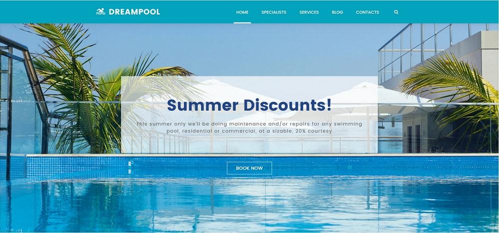 Dream Pool - Pool Cleaning & Pool Repair WordPress Theme