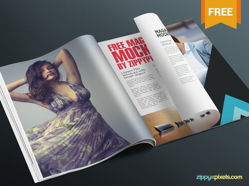 Free Realistic Magazine Page Mockup