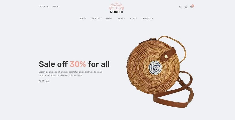 Nokshi - Handmade Crafts eCommerce Website Template