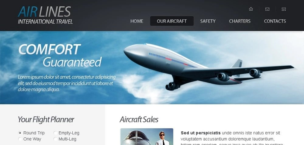 Free HTML5 Website Template - Airlines Company