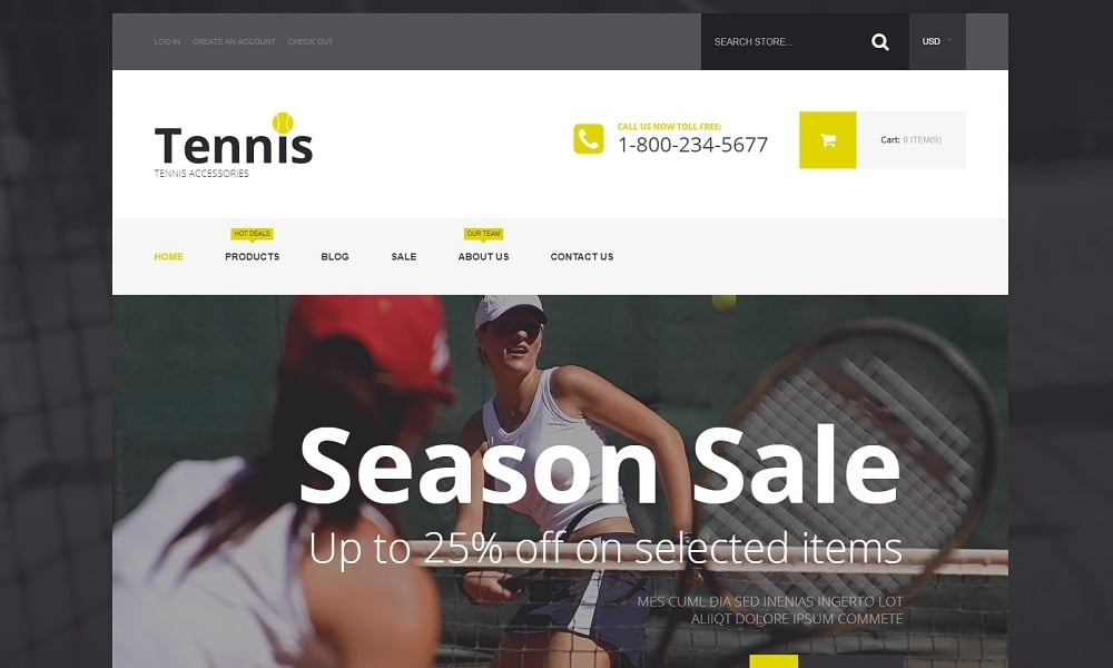 Tennis Accessories Shopify Theme