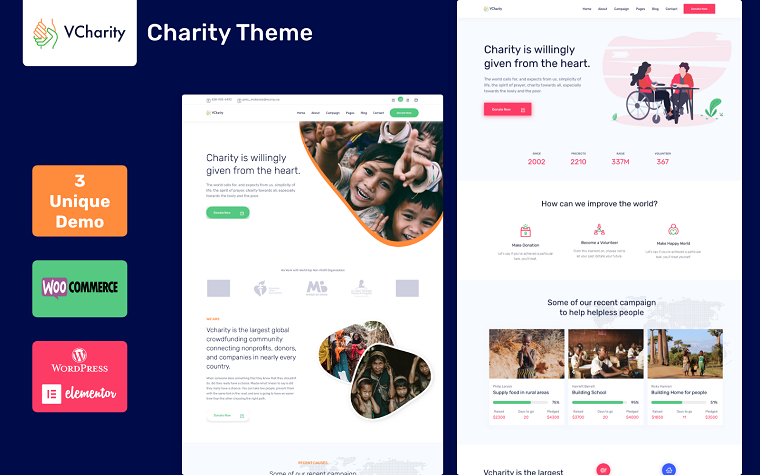vCharity - Multifunctional Charity & Children Help WordPress Theme