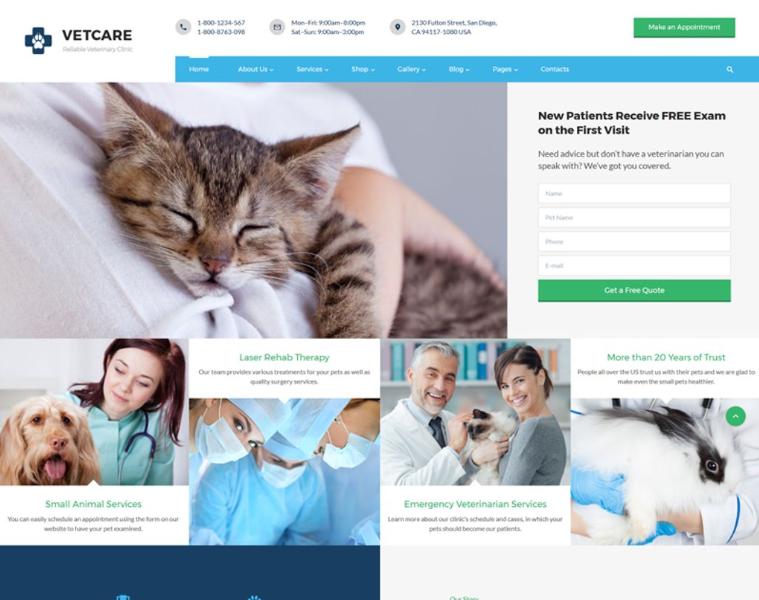 Vetcare - Vet Clinic Multipage HTML5 Website Template