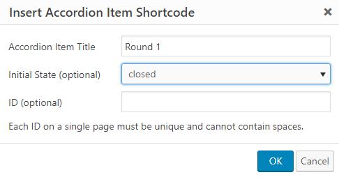 accordion item shortcode