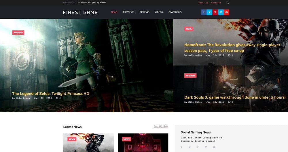 Finest Game Website Template