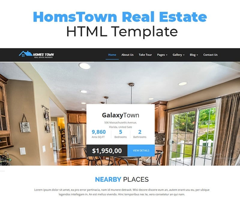 HomsTown Real Estate HTML Website Template