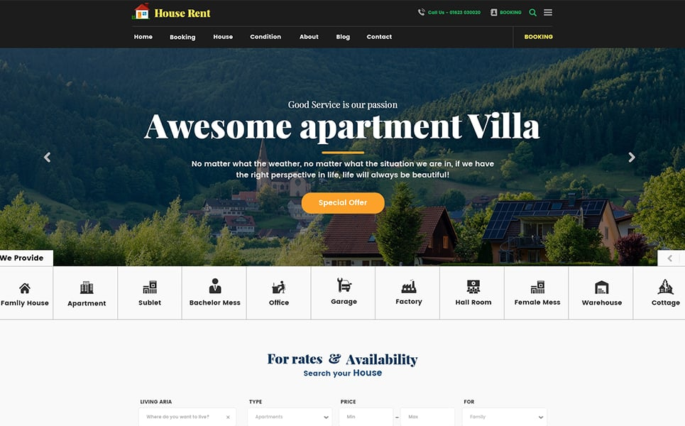 HouseRent - Multi Concept House And Apartment Rent HTML Website Template