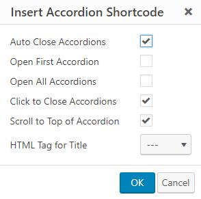 insert accordion shortcode