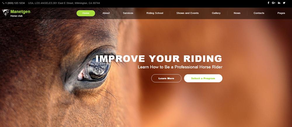 Manetgen - Horse Riding Responsive Multipage Website Template
