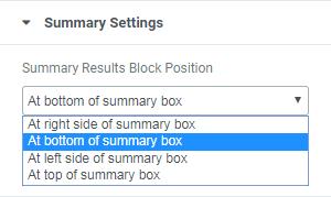 Summary Settings section