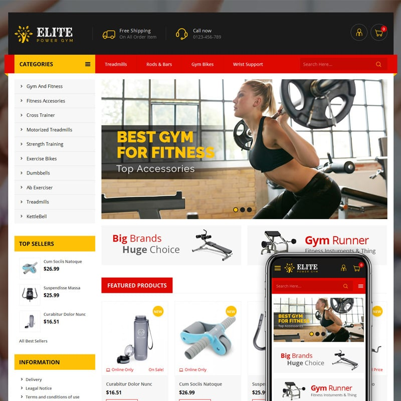 Gym Store PrestaShop Theme