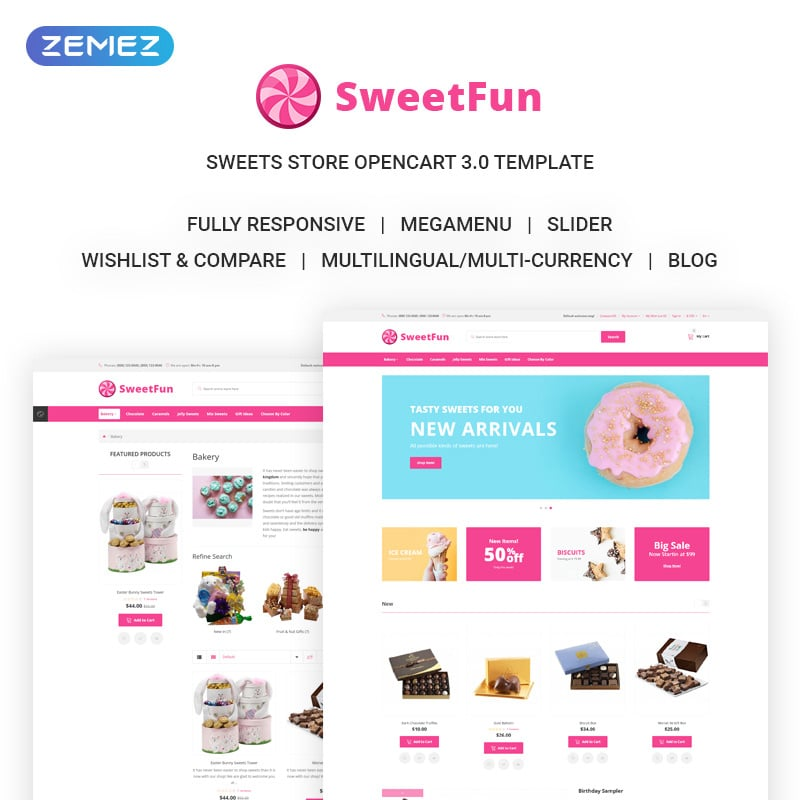 Sweets Online Store OpenCart Template