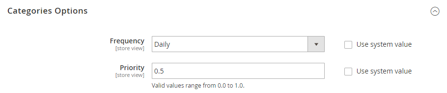 categories options