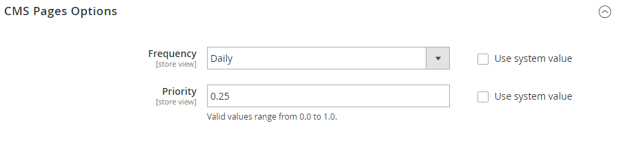 cms pages options