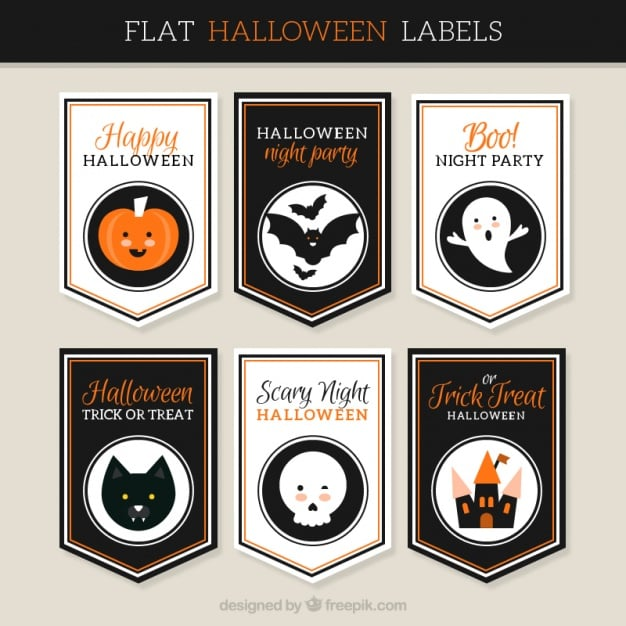 Collection of flat halloween stickers