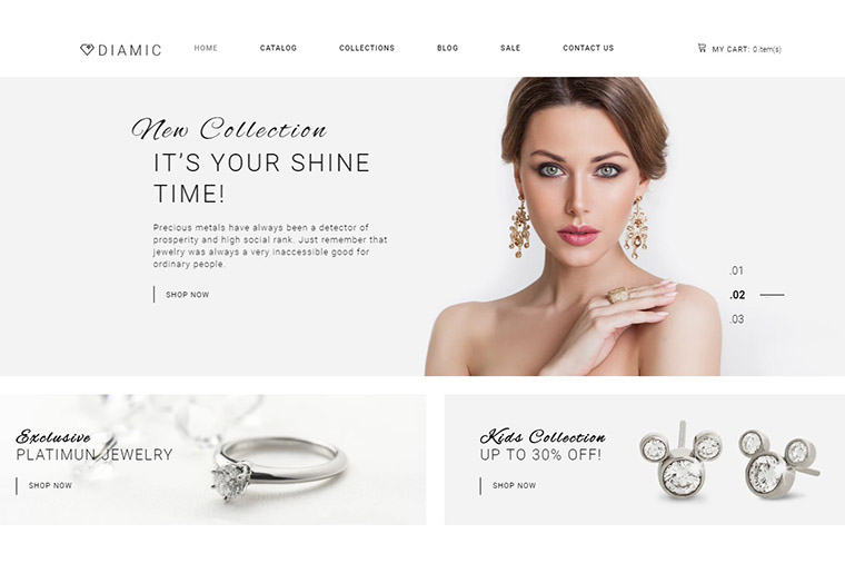 Diamic - Jewelry Multipage Clean Shopify Theme.