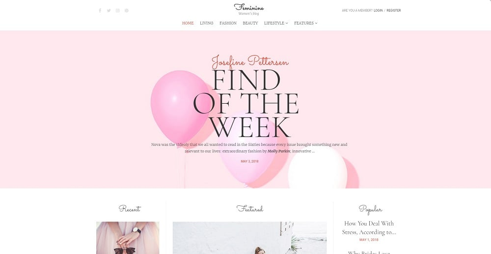 Faminine - Woman Blog Elementor WordPress Theme