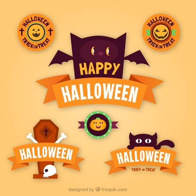 Flat halloween stickers