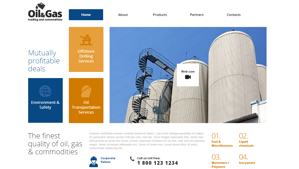 Gas & Oil Responsive Website Template