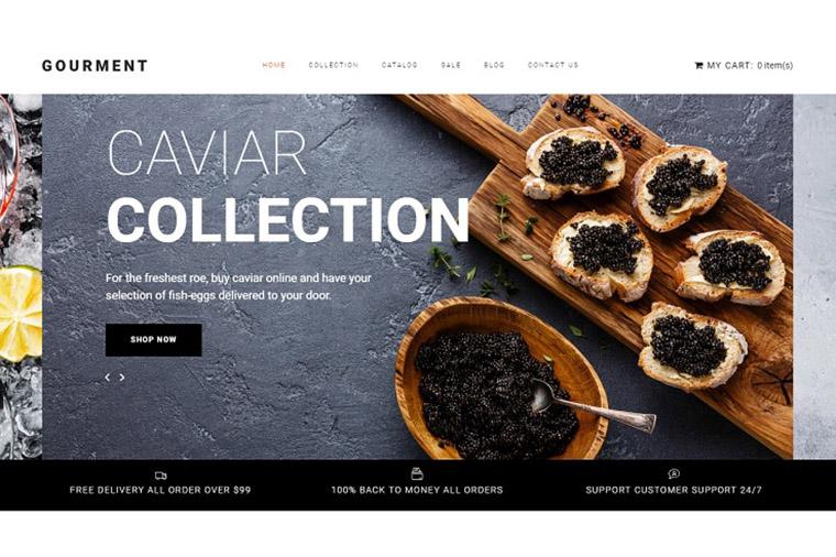Caviar Store Template Shopify Theme.