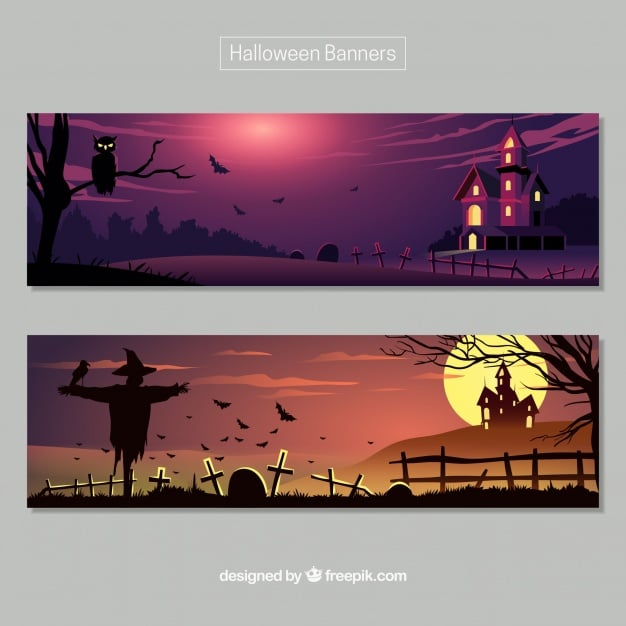 Halloween banners with dark landscapes