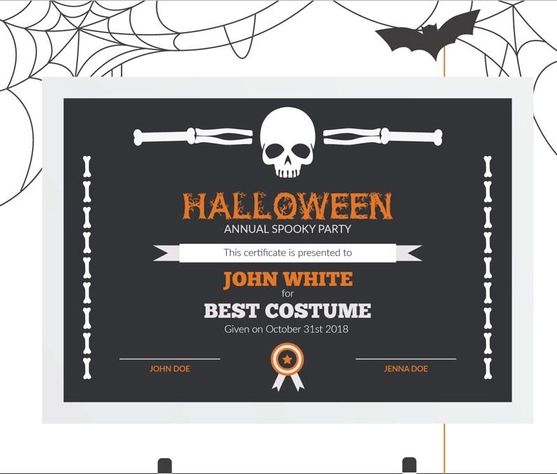 Halloween Best Costume Award Certificate Template