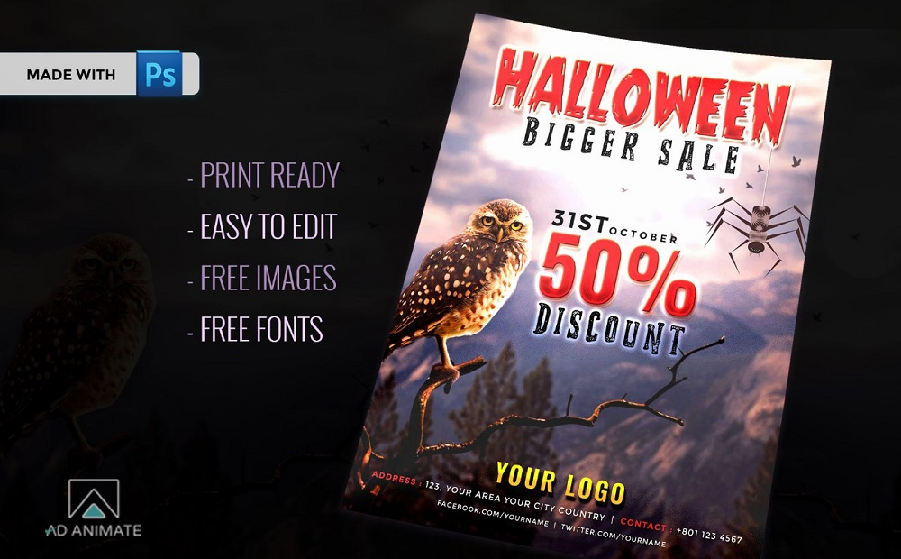 Halloween Bigger Sale Flyer Corporate Identity Template