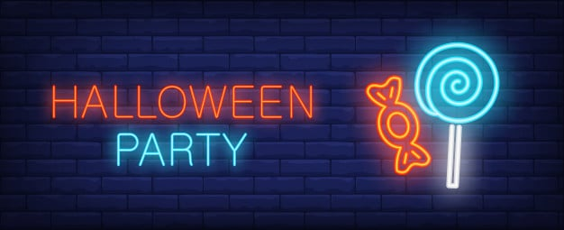 Halloween party neon style banner with treat on brick background