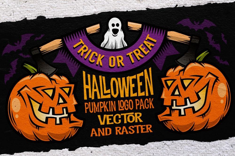 Halloween Pumking Logo Set Illustration