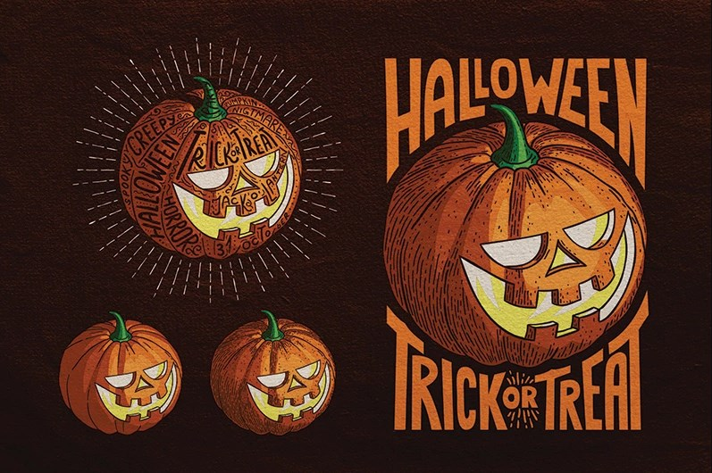 Halloween Pumpkin Engraving Style Illustration