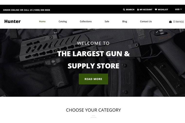 Hunter - Simple Responsive Gun Shop Shopify Theme.