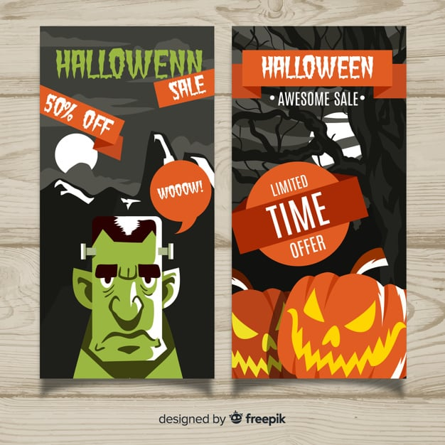 Modern halloween sale banners with flat design