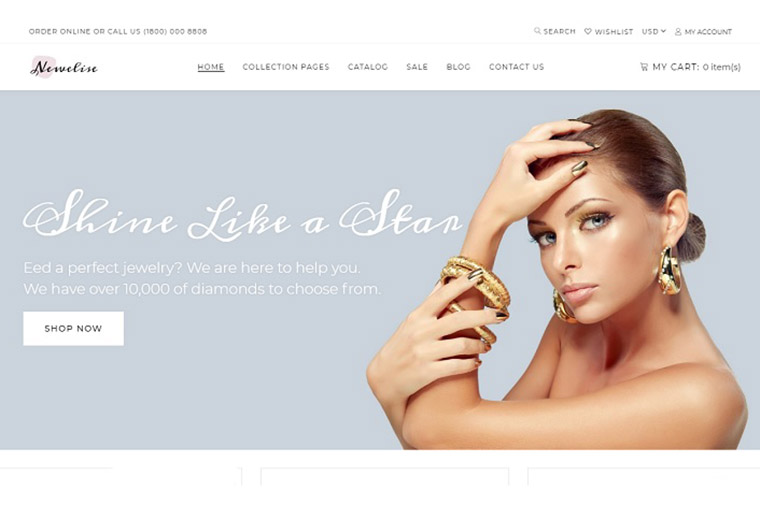 Newelise - Jewelry Elegant Minimalistic Shopify Theme.